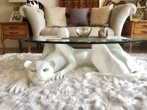 RETRO VINTAGE 60s WHITE PANTHER COFFEE TABLE W/BEVELED GLASS ESTATE COLLECTIBLE!