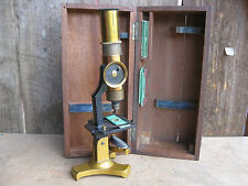 New listing Exceptional Antique Brass Microscope with Vintage Prepared Slides & Wooden Case