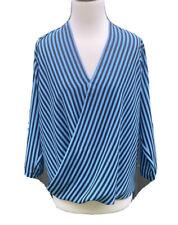 Michael Kors Women Blue Stripes V Neck Half Sleeve Blouse Top Sz S