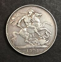 1891 GREAT BRITAIN SILVER CROWN COLLECTOR COIN.