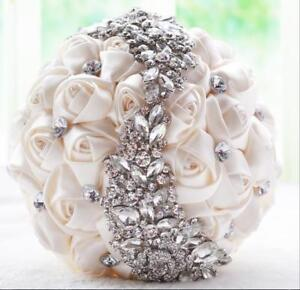 Gorgeous Artificial New Roses Crystals Wedding Bridal Bouquet Bridal Hand Flower
