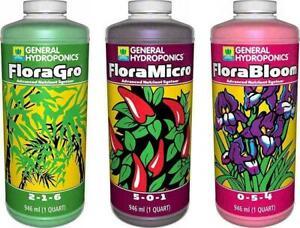 General Hydroponics Flora Series FloraGro FloraBloom FloraMicro 32 oz QT - gh