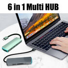 6 in 1 USB Type C HUB HDMI 4K 3X USB 3.0 Ports SD/TF Card Reader For MacBook Pro
