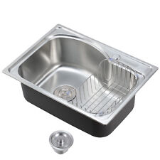 Stainless Steel Catering Kitchen Sink Laundry Top Mount Single Bowl 560x410mm