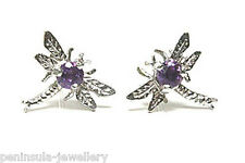 9ct White Gold Amethyst Dragonfly Studs Earrings Gift Boxed Made in UK Xmas