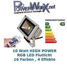 10 Watt RGB FLUTLICHT LED Strahler Objektbeleuchtung Fluter Aussen 16 Farben 10W