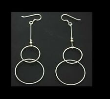 Sterling Silver Pretty Double Circles Dangling Hoop Earrings