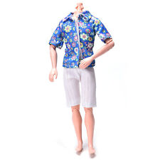 Flowery Shirt Suit for Ken Doll Barbie Cloth White Short Pants Fashion Doll Pcev