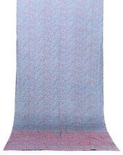 Vintage Turquoise Saree 100% Silk Printed Indian Sari Craft Fabric Dressmaking