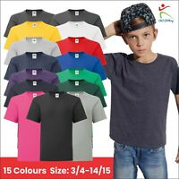 Fruit of The Loom Kids Iconic T-Shirt Plain Short Sleeve Tee T Shirt Cotton TOP