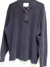 EDDIE BAUER Waffle Thermal Weave L/S Henley Shirt Deep Purple Mens Size XXL 2XL