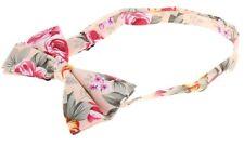 New Hawaiian Shirt Bow Tie Beige Tan Flower Floral BowTie Luau Hawaii US SELLER