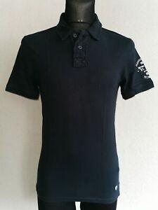 celio* mens cotton short sleeve dark blue polo shirt size S