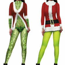 Christmas Womens Jumpsuit The Grinch Cosplay Playsuit Xmas Party Fancy Costumes