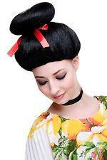 Karneval Fasching Perücke Geisha Asia Japan Cosplay China Girl Schwarz 2120-P103