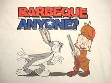 Barbeque Anyone Looney Tunes Bugs Bunny Elmer Fudd BBQ Bar 4th of July T Shirt M