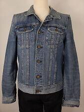 All Saints Mens Blue Denim Vintage Look Frayed Detail Jacket Coat Size Medium