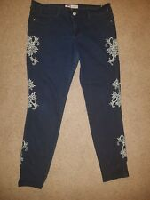 35922db5216aa L.e.i. Skinny Dark Blue Jeans Side Leg Floral Embroidery Pants Low Rise  Ashley