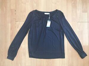 TORY BURCH Ladies Designer Navy Silk Blouse @ US S Petite UK 8-10 90002136 Top
