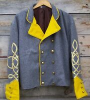 civil war confederate reenactor cavalry shell jacket with 3 braids 52