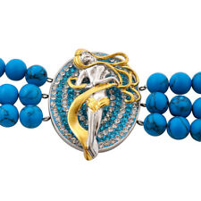 Fem Fatale Bracelet in Stainless Adjustable Austrian Crystal , Blue Howlite Bead