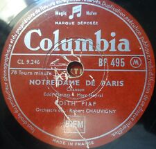 french 78 RPM - edith piaf - notredame de paris - colombia france 1940's