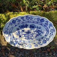 "Antique CARL TEICHERT Meissen BLUE ONION Porcelain 10 3/4"" Platter Oval Backstmp"