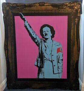 t.wat Acid Thatcher stencil spray painting on board signed unique original
