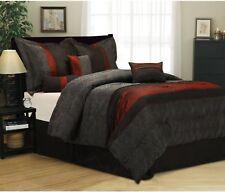 7-Piece Bedding Comforter Set KING SIZE BLACK/RED SHAMS PILLOWS BEDSKIRT ROOM