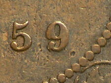 Canada 1859 Victoria Large Cent, Double Punch #2 Variety   #5812