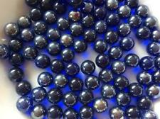 25 CLEAR LUSTERED COBALT BLUE GLASS MARBLES 14mm timeless traditional toy/game
