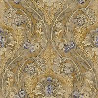 Blue Gunmetal Bronze Bold Victorian Arts Crafts Classic Double Roll Wallpaper