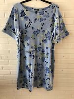 New Karen Scott Woman's Floral Print Cotton Shift Dress  1X 2X 3X  Blue   L12