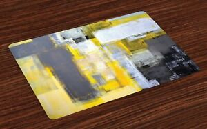 Amelie 'Abstract Painting' Decorative Fabric Placemat - Yellow/Grey (45 x 32 cm)