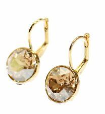 Swarovski Elements Champagne Bella Earrings Gold Plated Dangle Leverback Earring