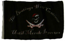 "12x18 12""x18"" Jolly Roger Pirate Beatings Continue Sleeve Flag Boat Car Garden"