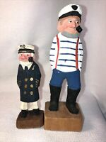 Vintage Hand Carved Wooden And Painted Captain And Sailor Figurines