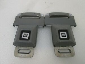 LOT OF 2 GM Logo Metal Seat Belt Buckle Push Button With Latch  **GREY**