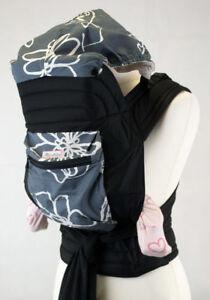 Mei Tai With Hood & Pocket - Grey White Design
