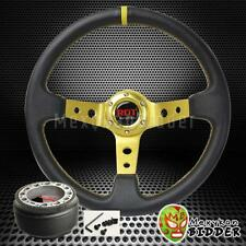 350mm Black/Gold Drifting Deep Dish Steering Wheel + Hub Adapter Integra 94-01