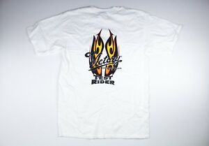 Victory Motorcycles USA Men's White Fire T Shirt Size Medium New American Cycle