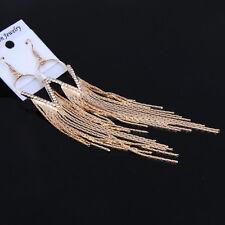 Crystal Tassel Long Shoulder Duster Linear Hook Dangle Gold Plated Earrings