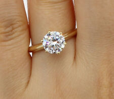 1.50Ct 14K Yellow Gold Cathedral Round Solitaire Engagement Propose Promise Ring
