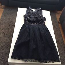 TOPSHOP Blk Sequined/Lace/Prom/Party Summer Backless Dress Size 10