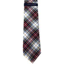 """Tommy Hilfiger Men's 100% Silk Neck Tie Tartans White Multi 3 1/4"""" x 58"""""""