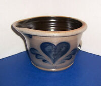 "1991 USA Rowe Pottery Batter Bowl (7.75"") Blue Heart Handmade Salt Glazed NICE"