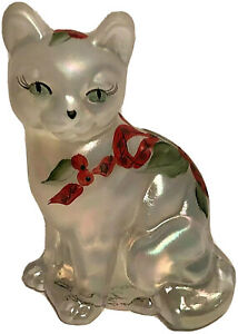 Fenton Christmas Cat Opaque Frost Holly Ribbon Signed Opalescent Figurine RARE