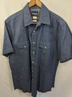 VTG Wrangler Western Denim Pearl Snap Button Country Cowboy Blue Shirt Size XL