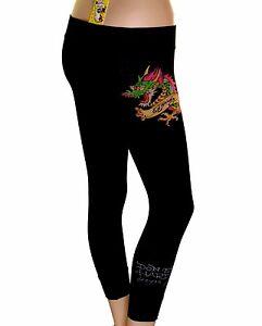 New Women's Ed Hardy Christian Audigier Stretch Cropped Leggings Dragon Tattoo