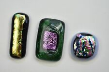 Lot of 3 Jewelry Tone Different Colors  Dichroic  Fused Glass Cabochons Handmade